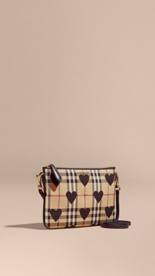 Heart Print Check and Leather Clutch Bag