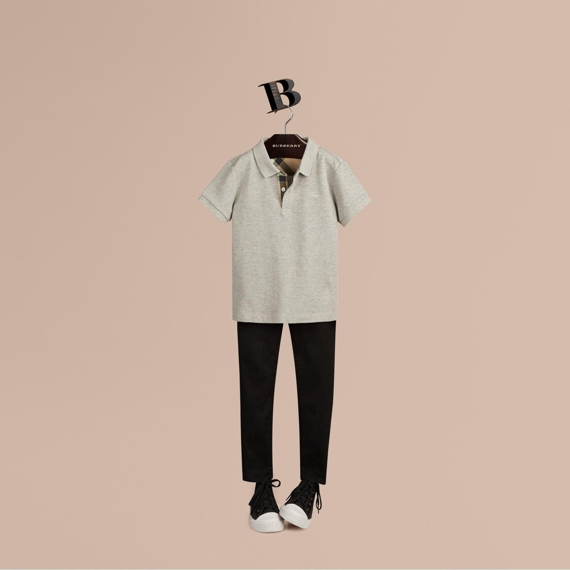 Pale grey melange Check Placket Polo Shirt Pale Grey Melange - gallery image 1