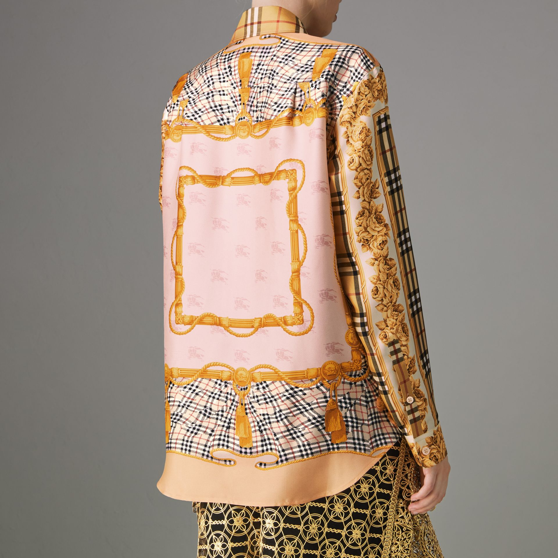 Archive Scarf Print Silk Shirt in Antique Yellow - Women | Burberry Singapore - gallery image 2