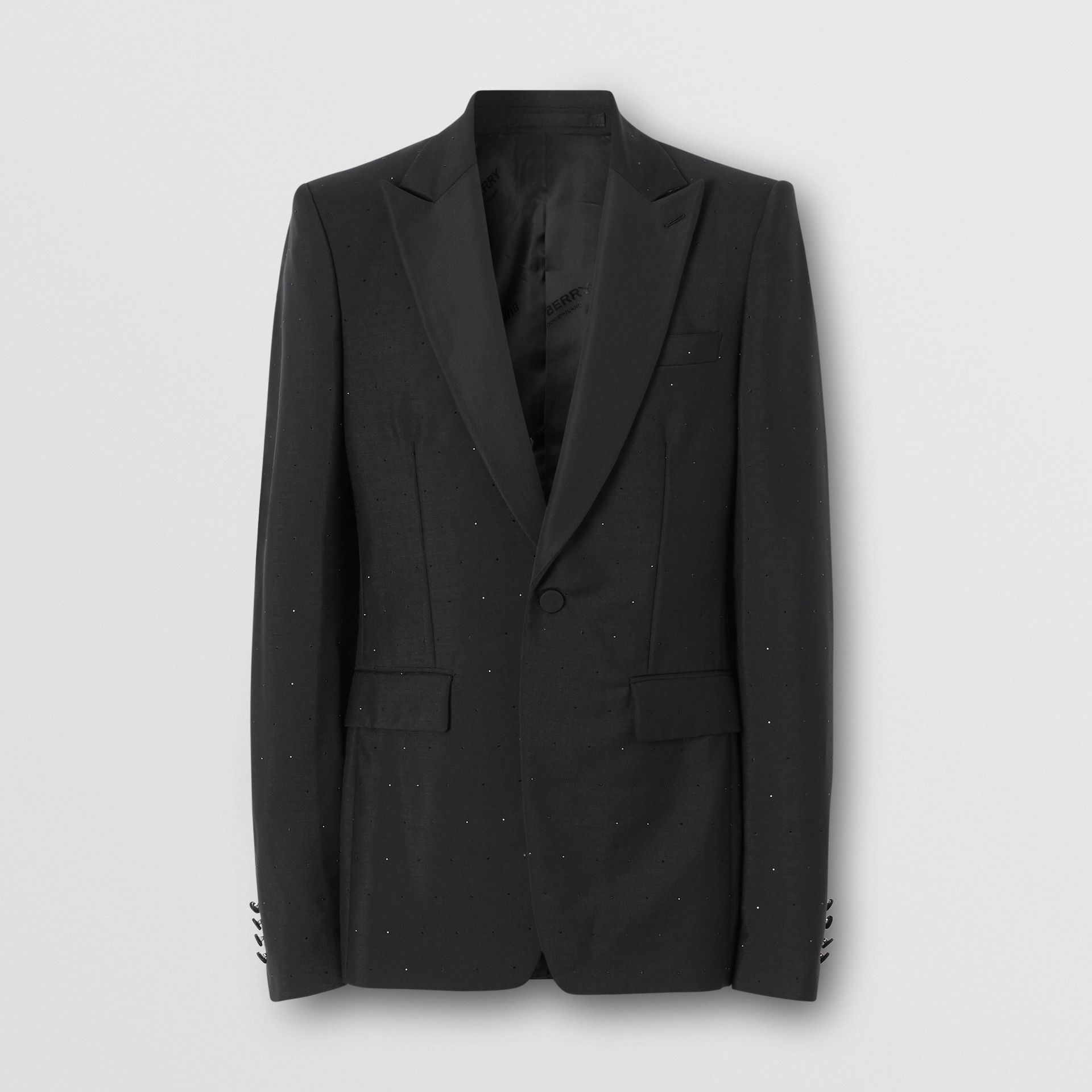 English Fit Embellished Wool Mohair Tailored Jacket in Black - Men | Burberry - gallery image 3