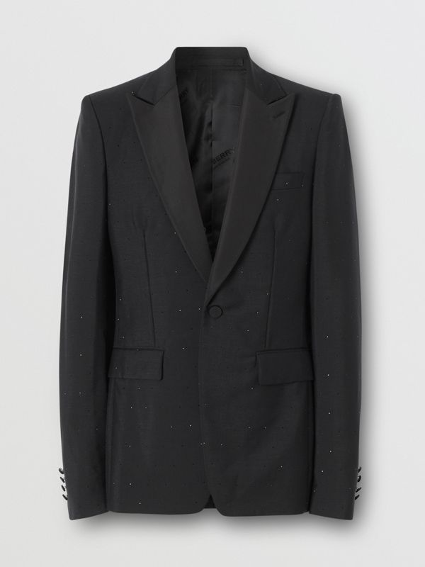 English Fit Embellished Wool Mohair Tailored Jacket in Black - Men | Burberry - cell image 3