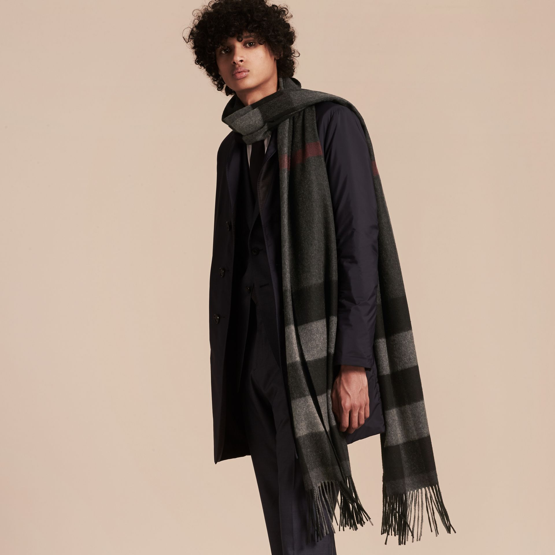 Charcoal Oversize Check Cashmere Scarf Charcoal - gallery image 3