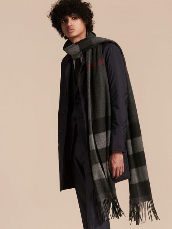 Charcoal Oversize Check Cashmere Scarf Charcoal - cell image 2