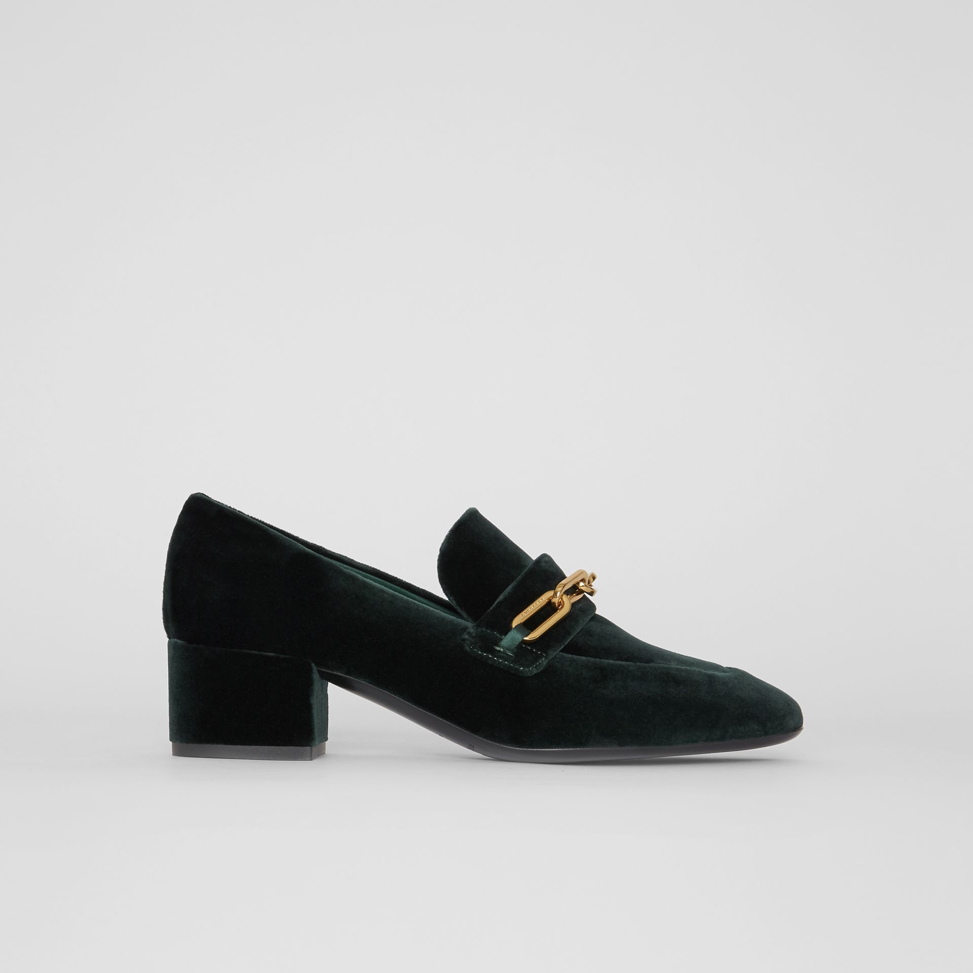 Link Detail Velvet Block-heel Loafers in Dark Forest Green - Women | Burberry - gallery image 5