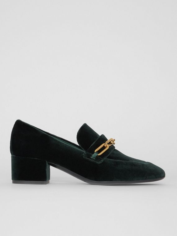 Link Detail Velvet Block-heel Loafers in Dark Forest Green