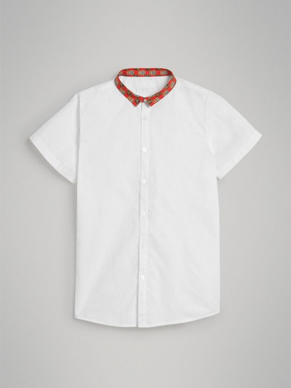 Short-sleeve Tiled Archive Print Collar Cotton Shirt in White