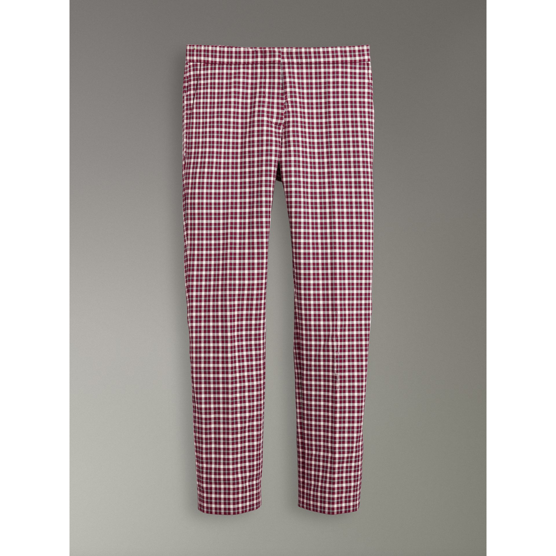 Straight-fit Check Cotton Tailored Trousers in Burgundy - Women | Burberry - gallery image 3