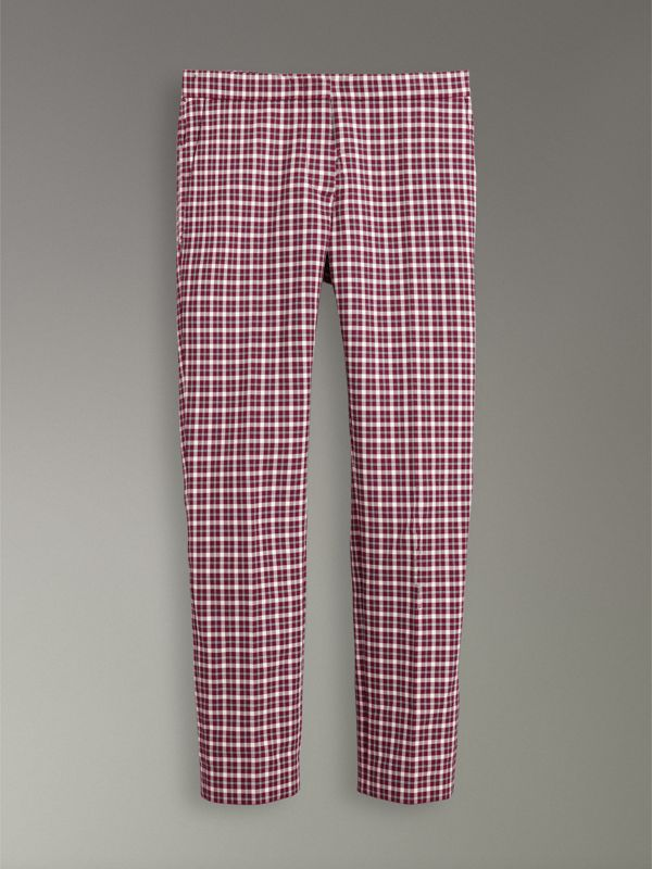 Straight-fit Check Cotton Tailored Trousers in Burgundy - Women | Burberry Singapore - cell image 3