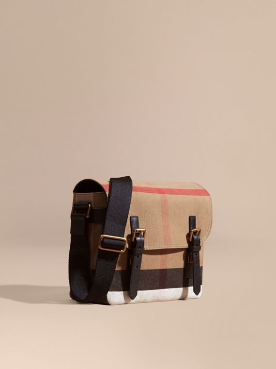 Small Canvas Check Messenger Bag