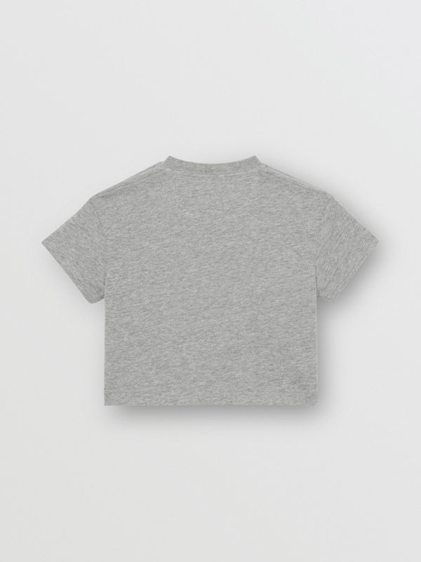 Logo Print Cotton T-shirt in Grey Melange - Children | Burberry Canada - cell image 3