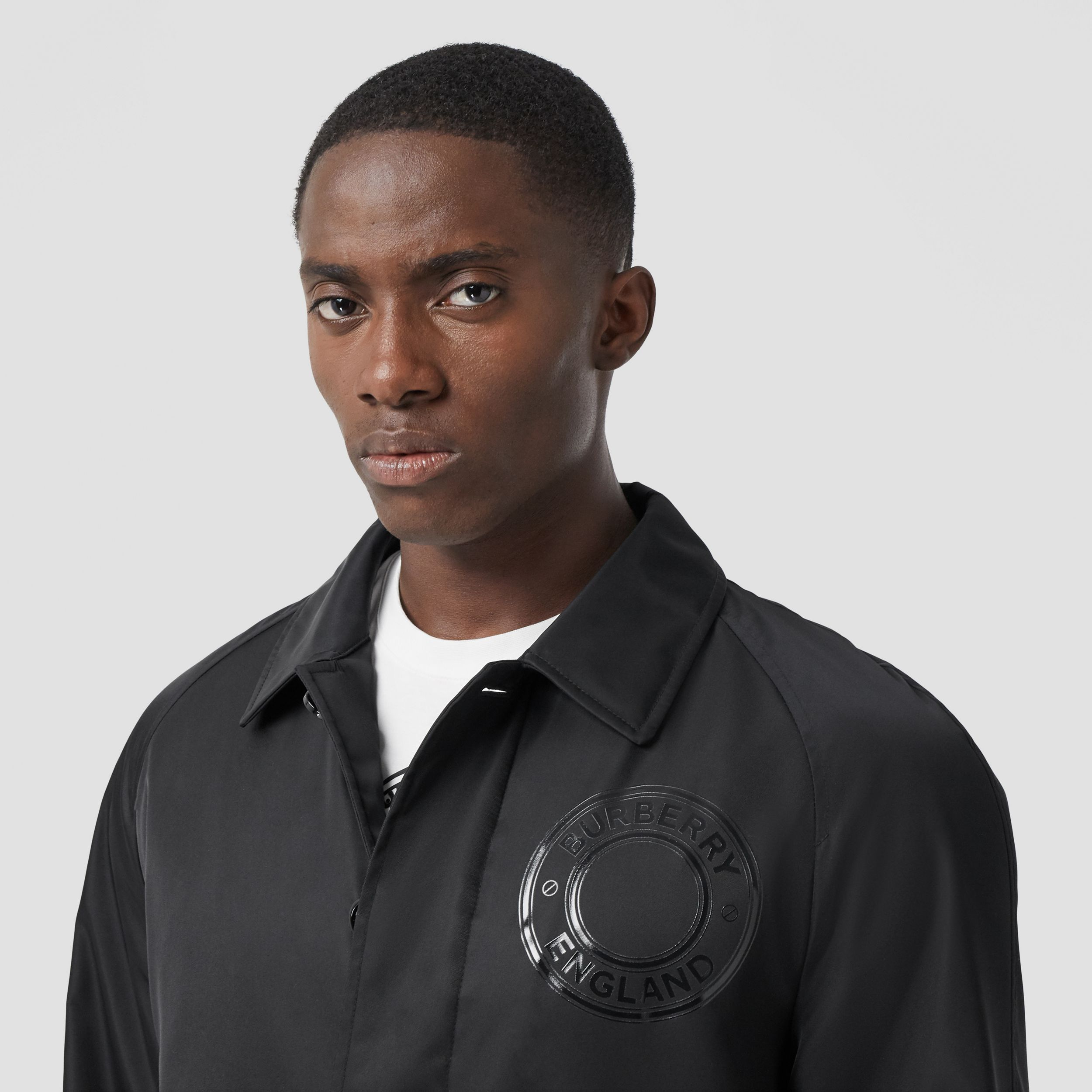 Logo Graphic ECONYL® Car Coat in Black - Men | Burberry Canada - 2