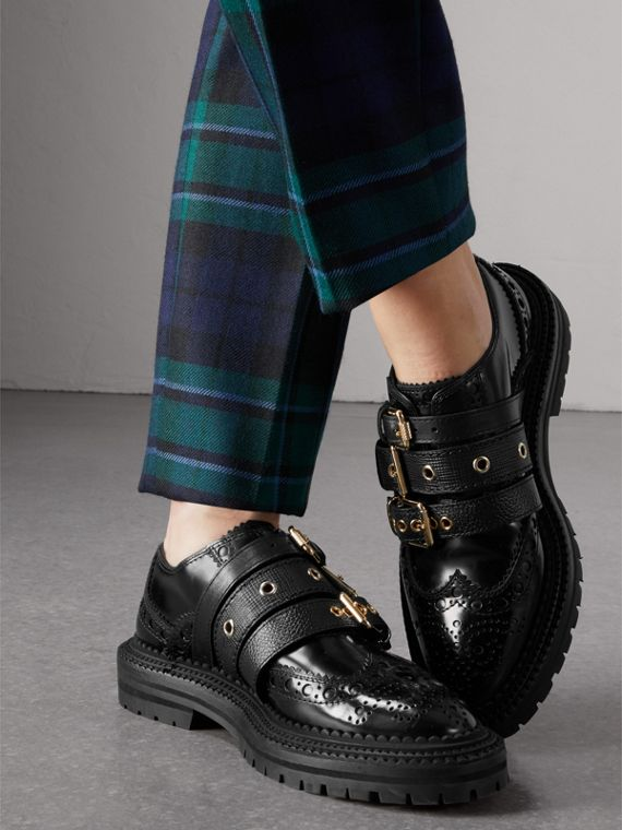 Buckled Polished Leather Brogues in Black - Women | Burberry - cell image 2