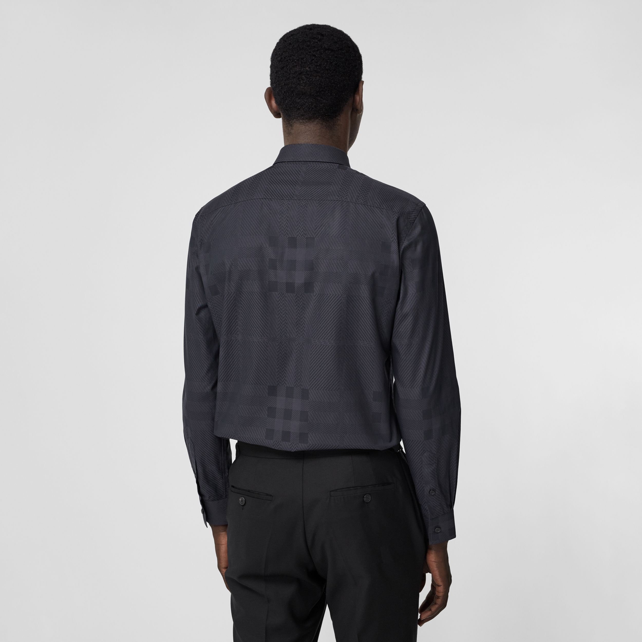 Slim Fit Check Cotton Jacquard Shirt in Charcoal - Men | Burberry - 3