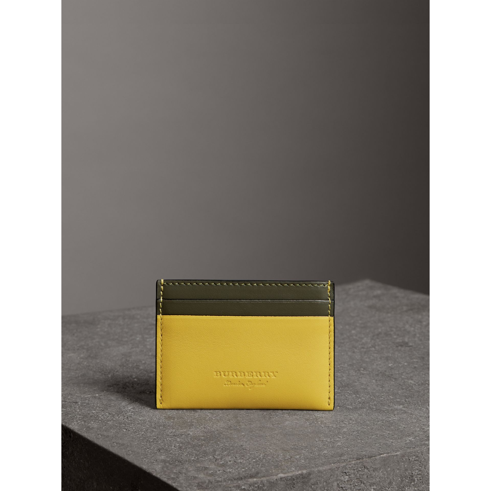 Two-tone Leather Card Case in Bright Larch Yellow | Burberry - gallery image 3