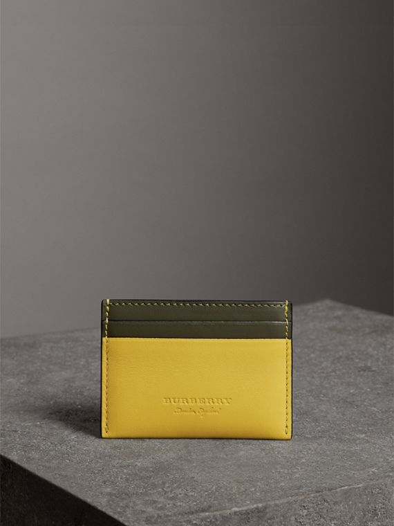 Two-tone Leather Card Case in Bright Larch Yellow - Women | Burberry - cell image 3