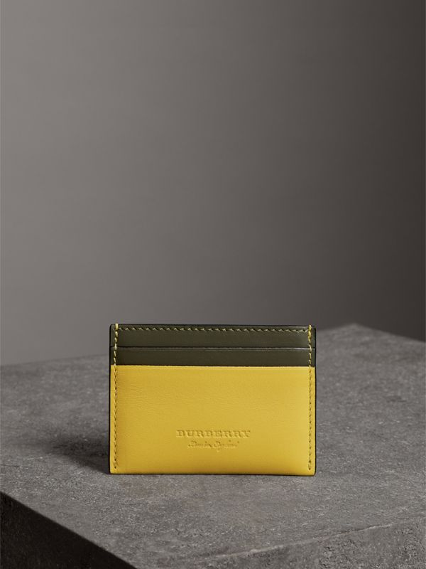 Two-tone Leather Card Case in Bright Larch Yellow | Burberry United Kingdom - cell image 3
