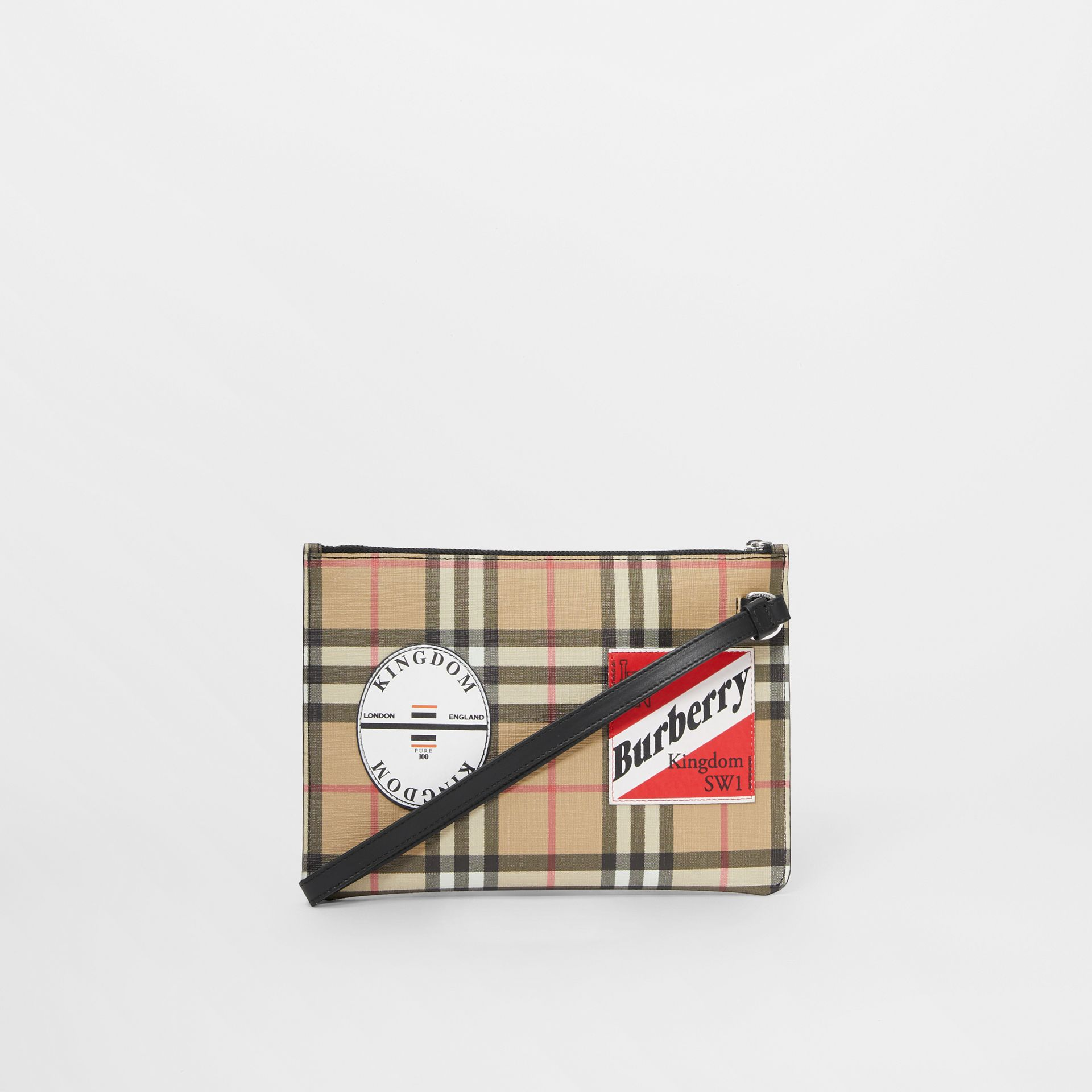 Logo Graphic Vintage Check E-canvas Zip Pouch in Archive Beige | Burberry - gallery image 7