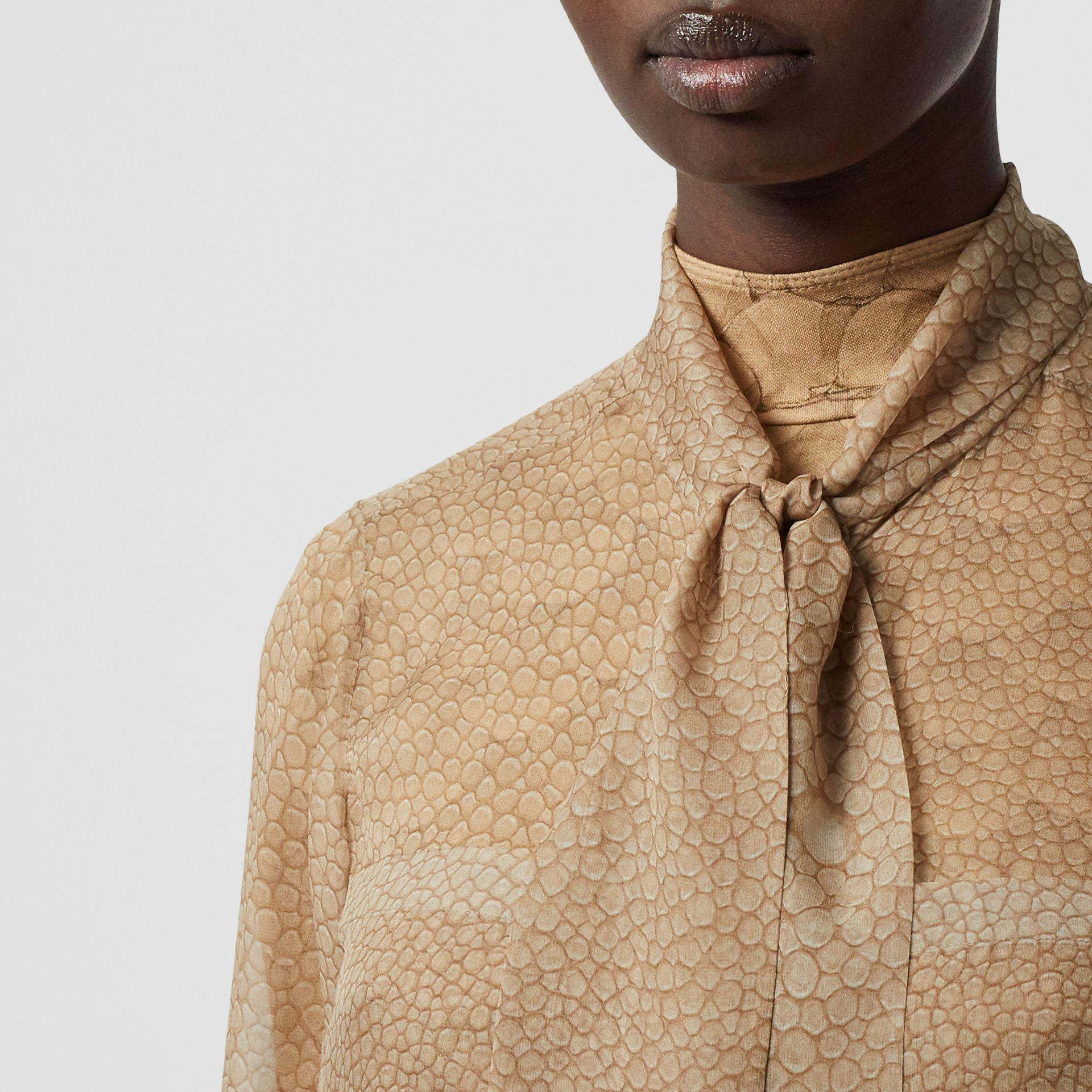 Fish-scale Print Silk Oversized Pussy-bow Blouse in Light Sand - Women | Burberry - gallery image 6