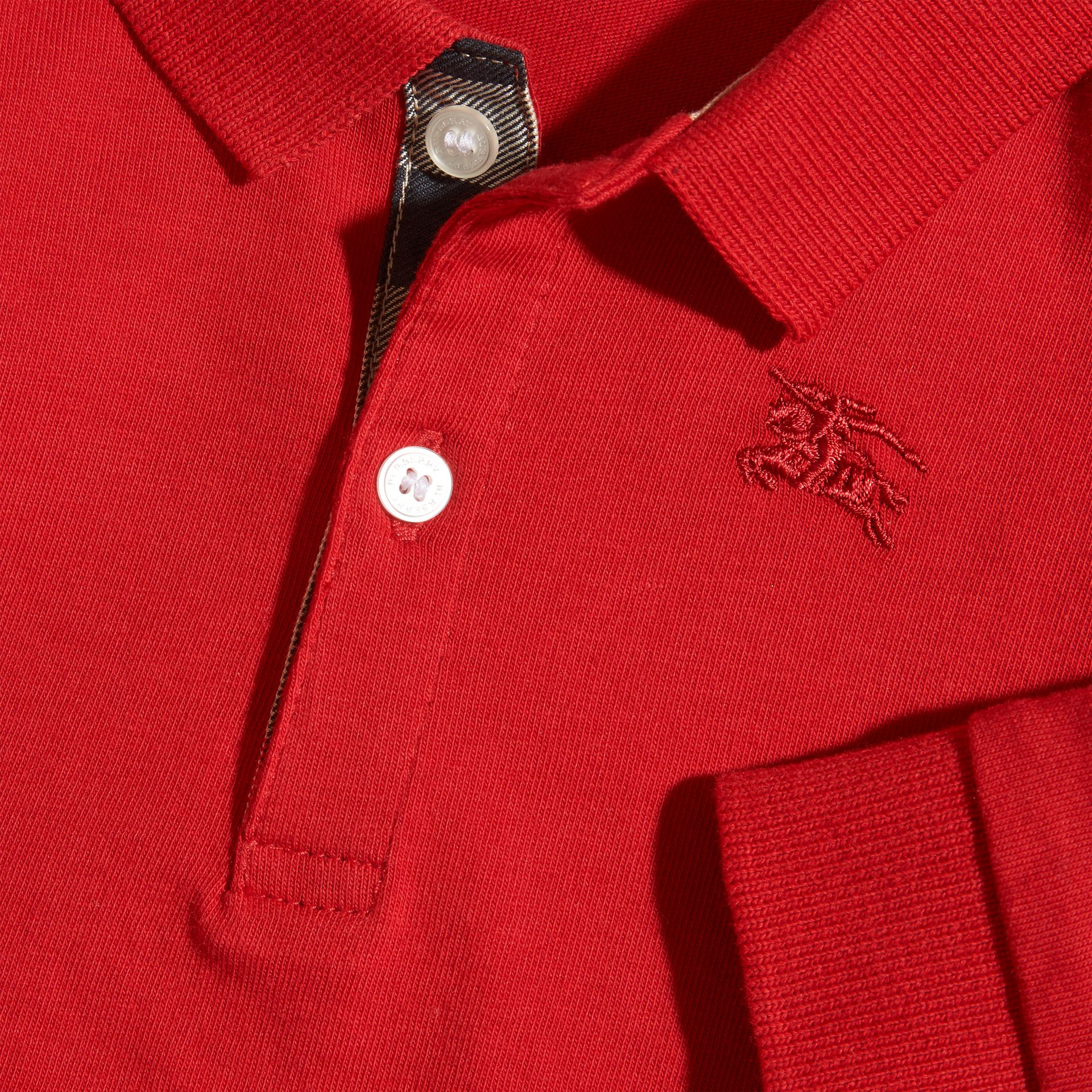 Check Trim Long-sleeved Cotton Polo Shirt in Military Red | Burberry Canada - gallery image 2