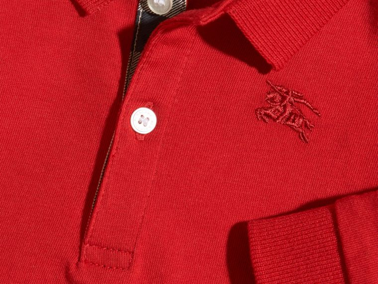 Check Trim Long-sleeved Cotton Polo Shirt in Military Red | Burberry - cell image 1