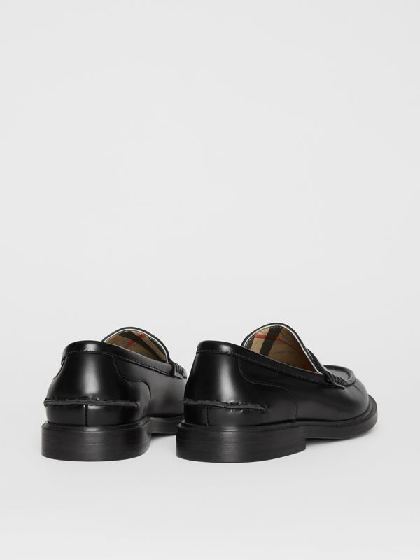 Smooth Leather Loafers in Black - Children | Burberry - cell image 2
