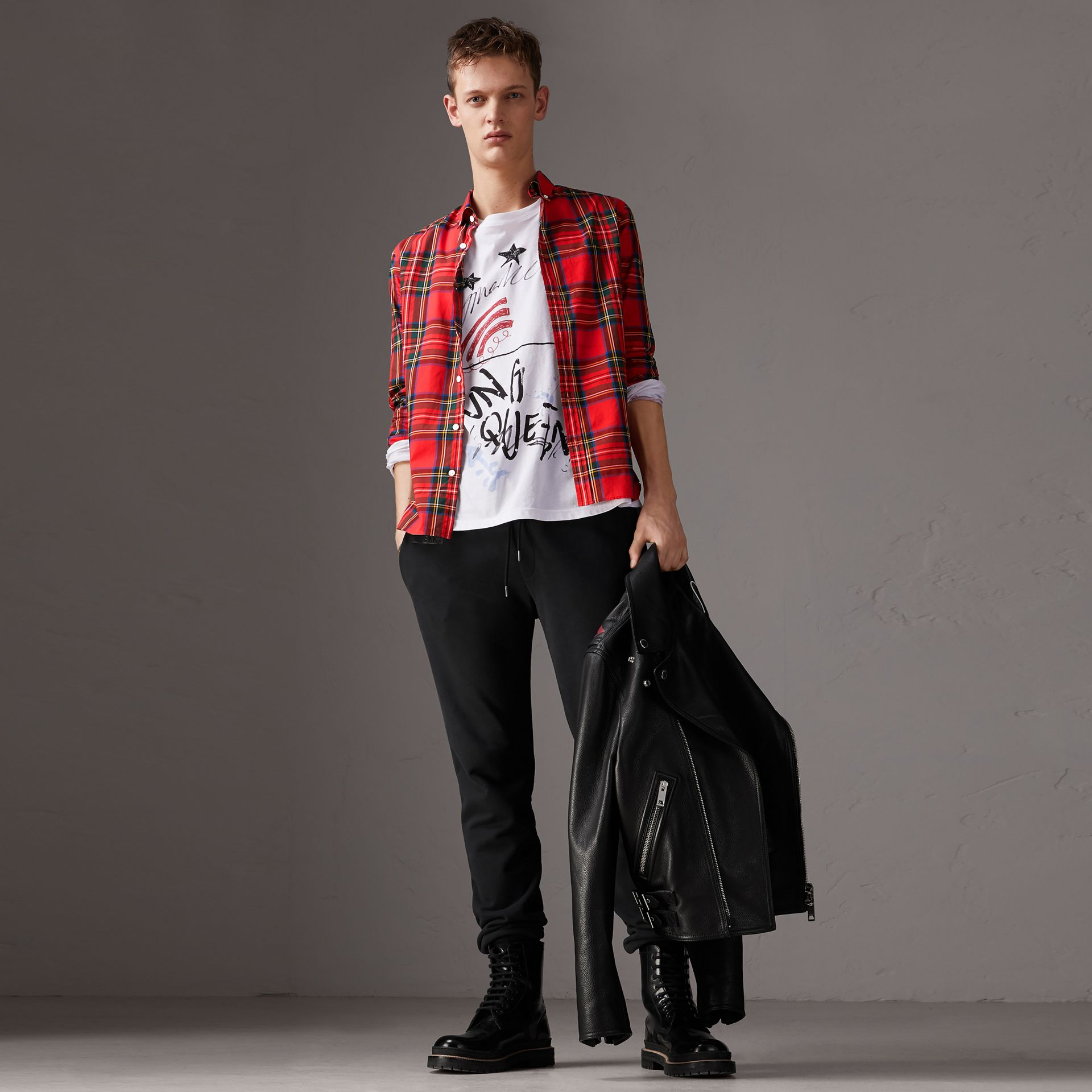 Tartan Cotton Button-down Collar Shirt in Bright Red - Men | Burberry Australia - gallery image 0