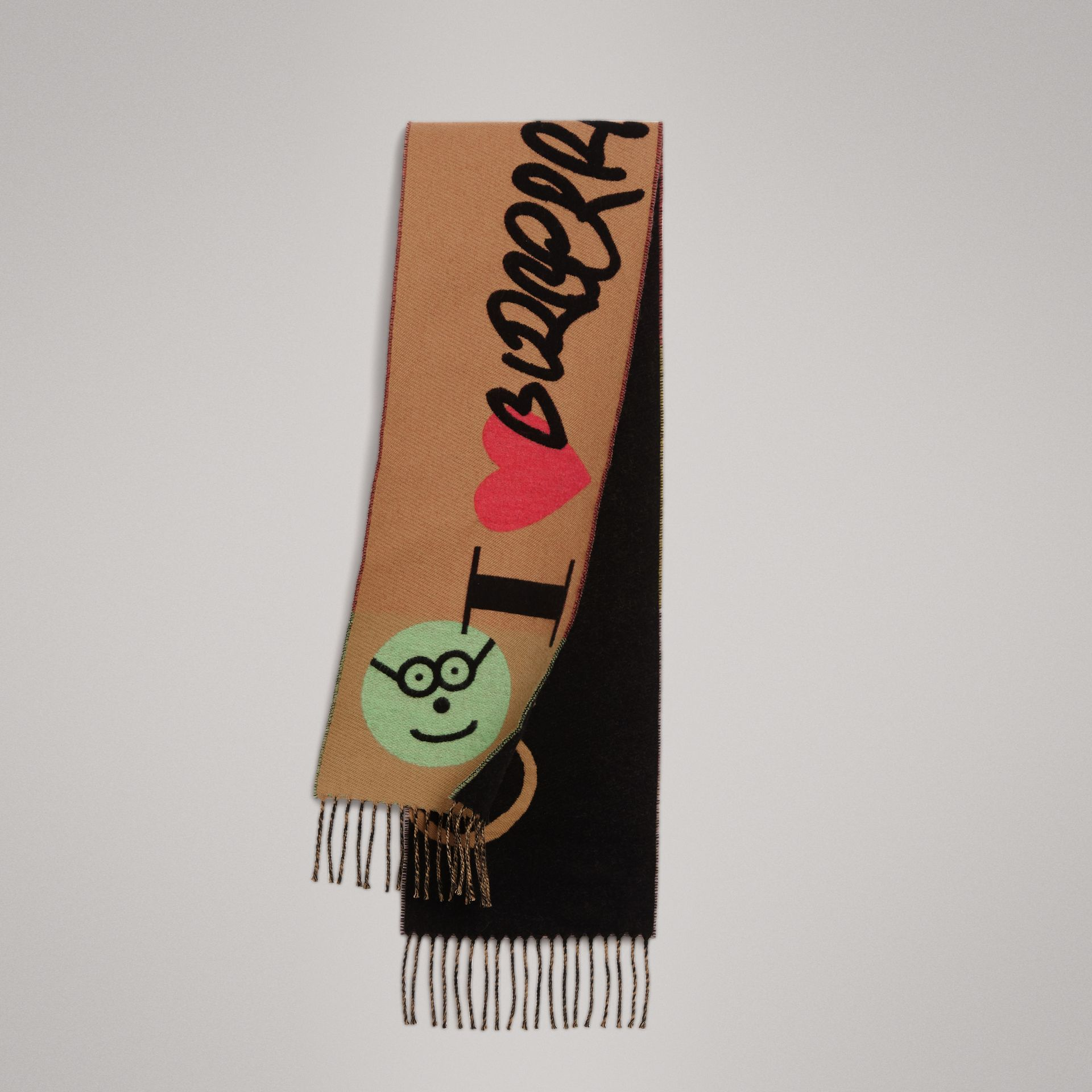 Graffiti Graphic Wool Cashmere Scarf in Antique Yellow | Burberry United Kingdom - gallery image 0