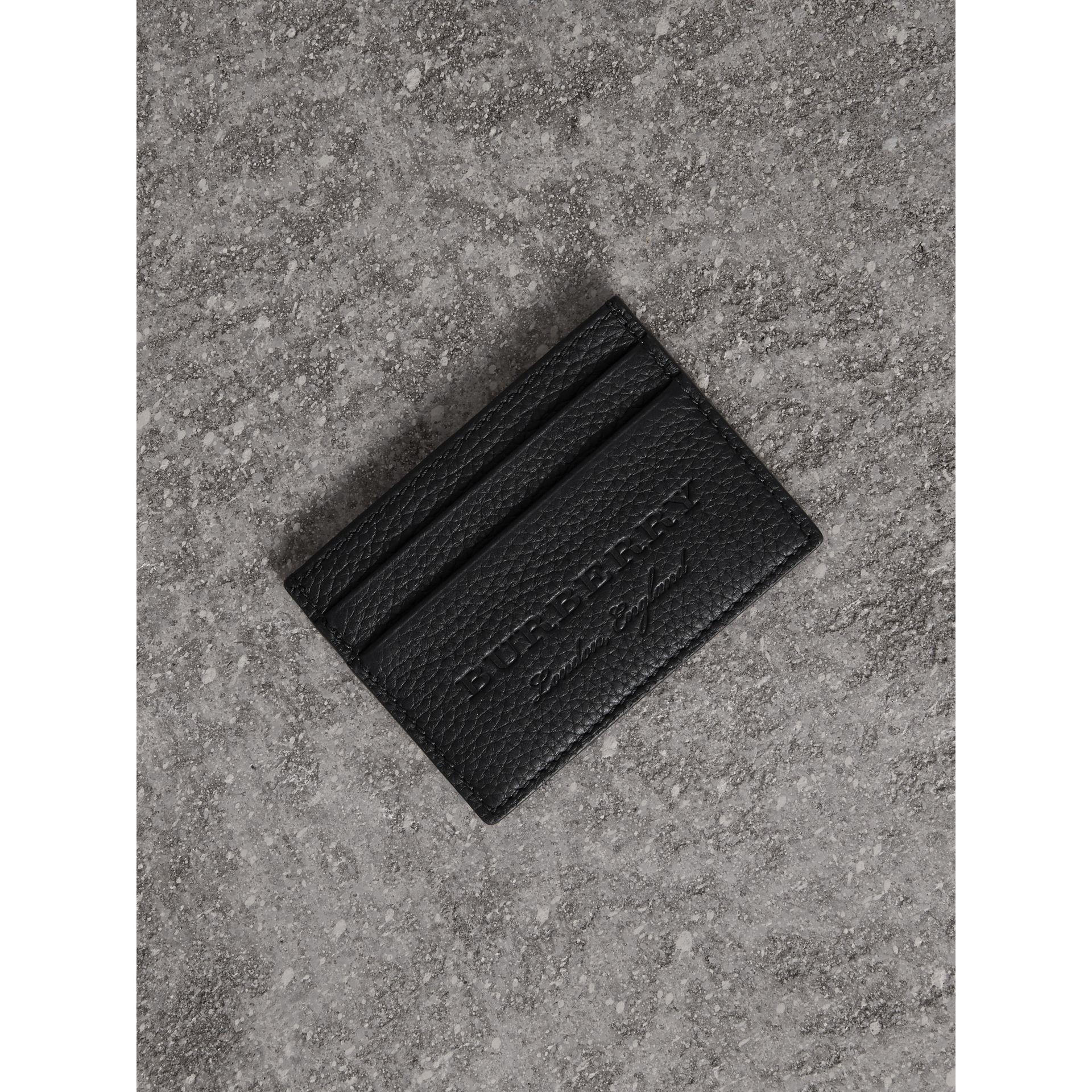 Textured Leather Card Case in Black - Men | Burberry United States - gallery image 1
