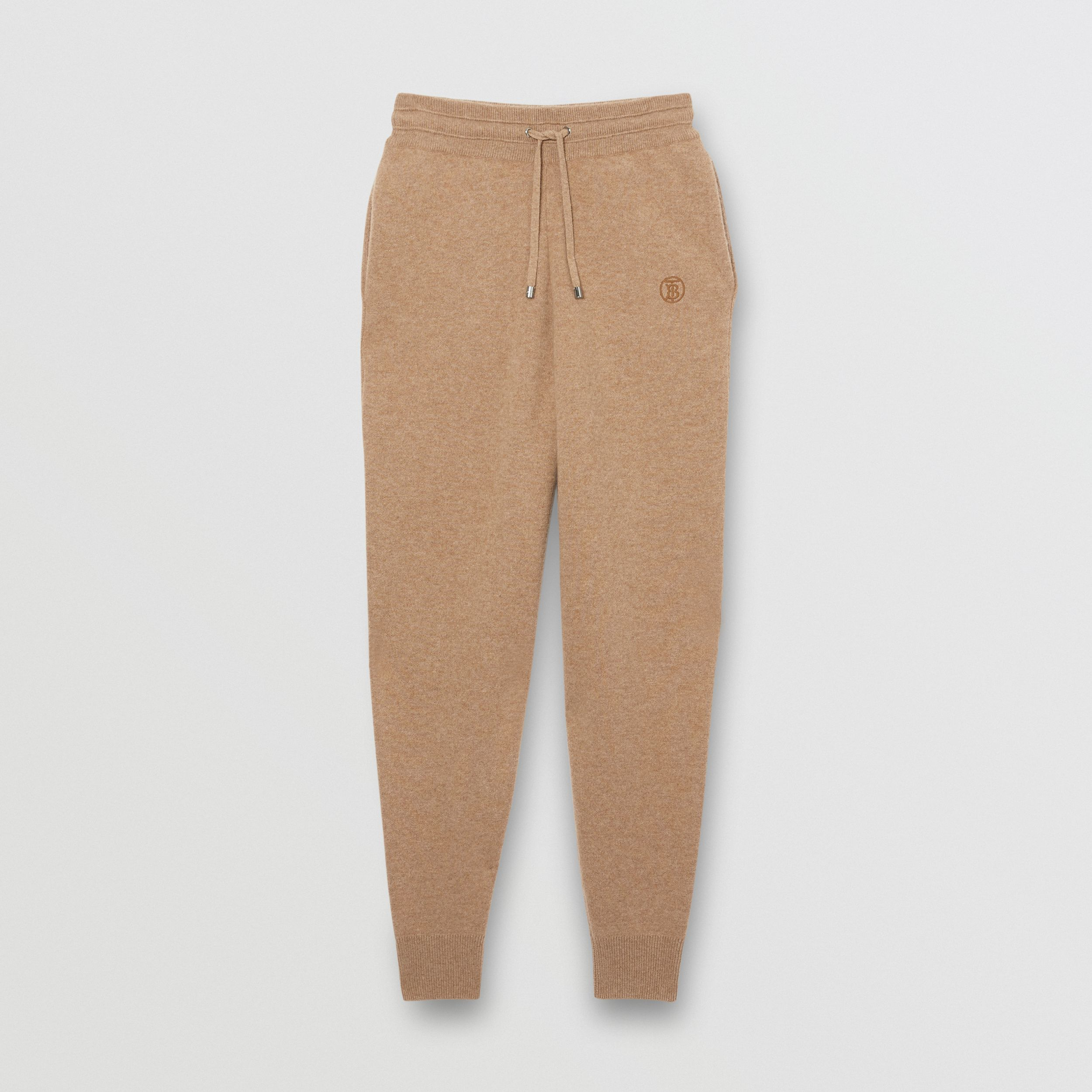 Monogram Motif Cashmere Blend Trackpants in Pale Coffee - Women | Burberry - 4