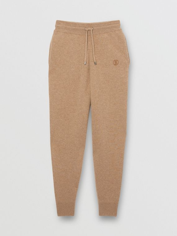 Monogram Motif Cashmere Blend Trackpants in Pale Coffee