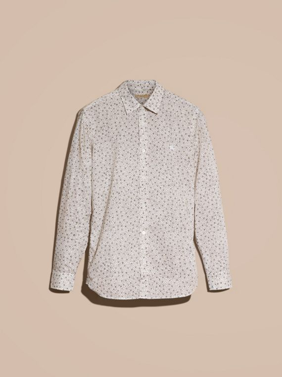 White Painterly Spot Print Cotton Shirt White - cell image 3
