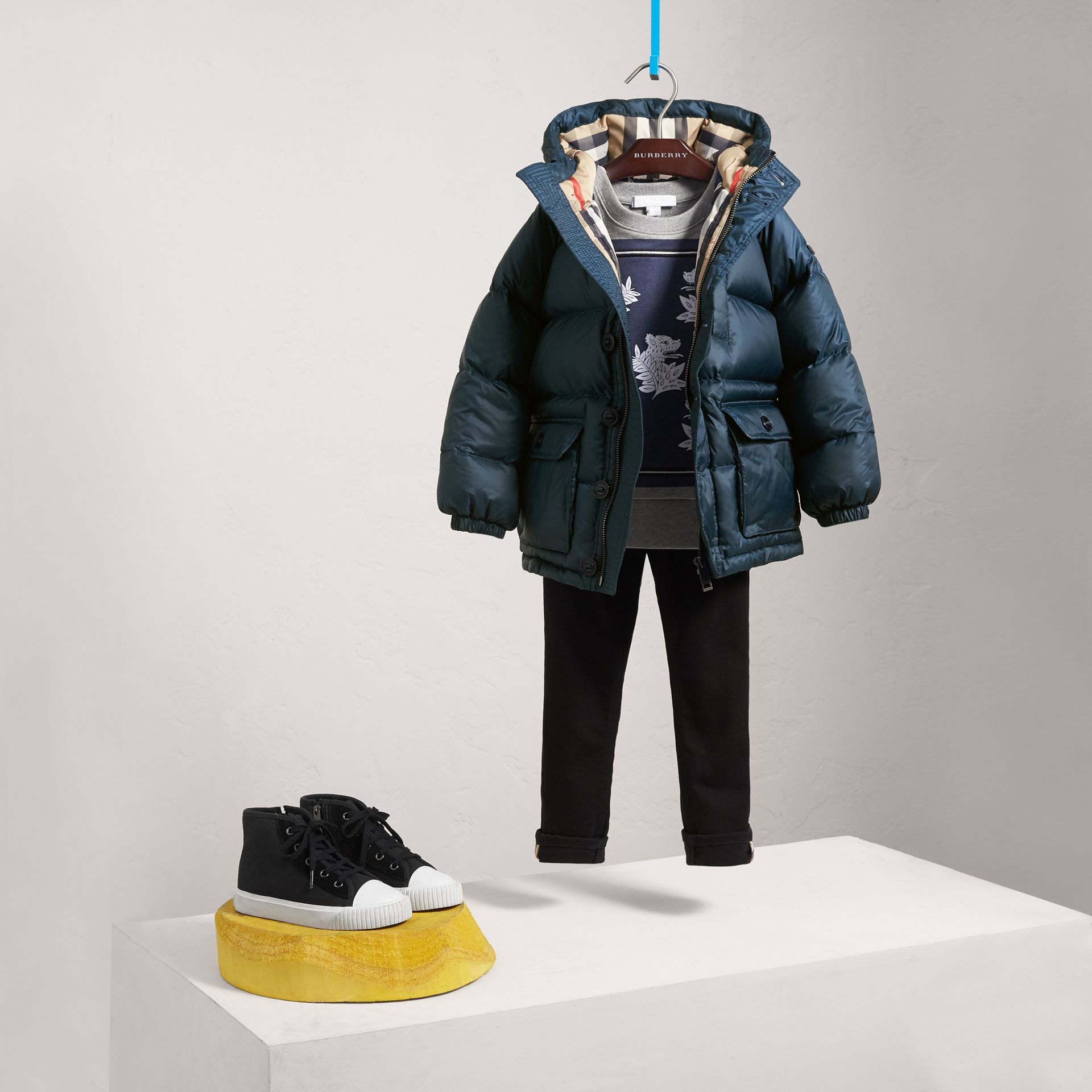 Shower-resistant Hooded Puffer Jacket in Ink Blue - Boy | Burberry - gallery image 0