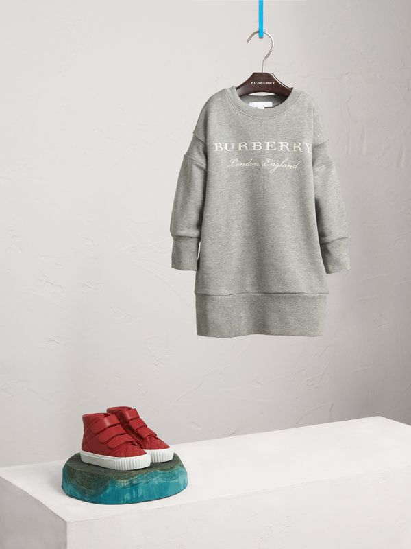 Embroidered Cotton Sweatshirt Dress in Grey Melange | Burberry - cell image 2