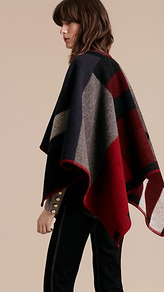 Check Wool Cashmere Poncho Navy