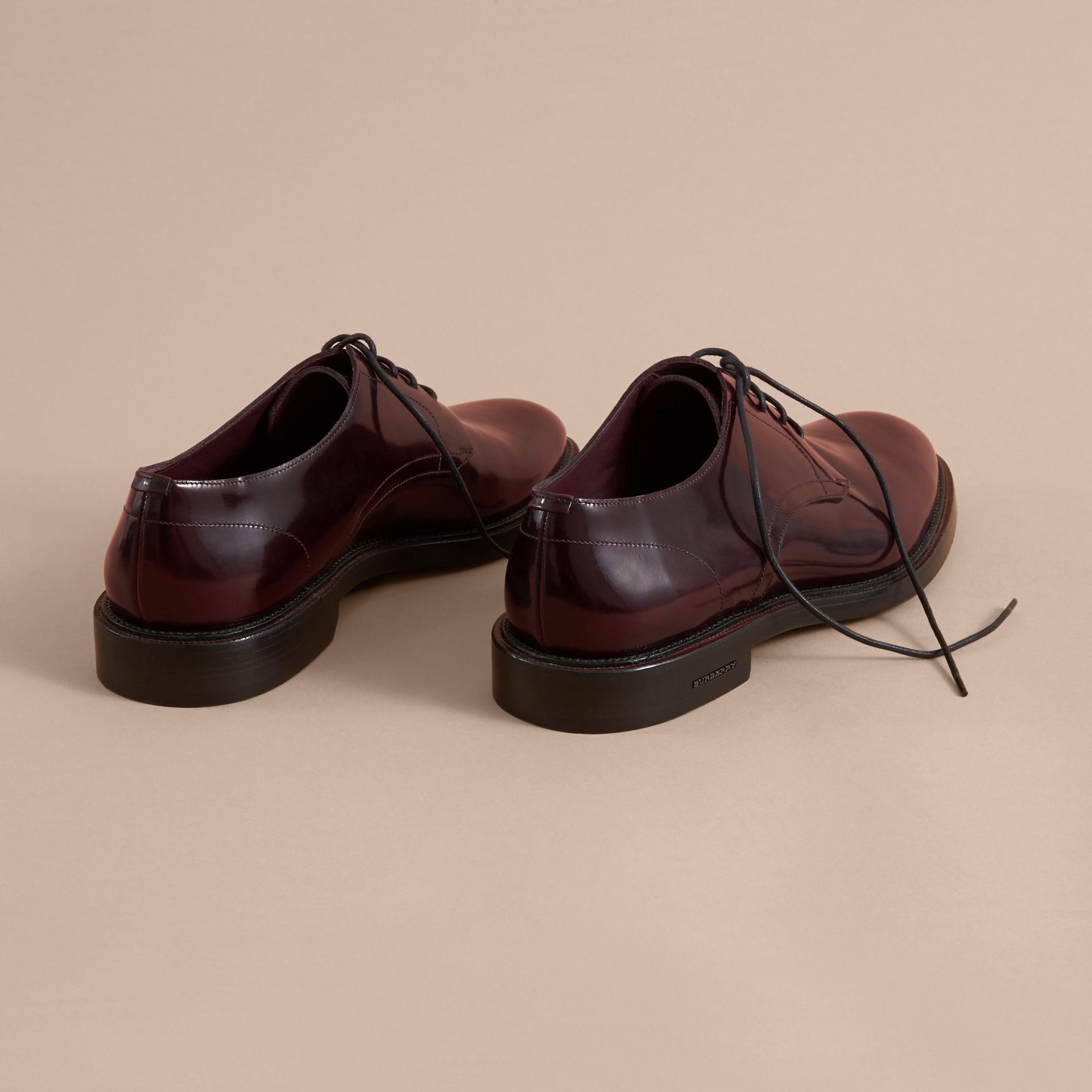 Polished Leather Derby Shoes in Rust Red - Men | Burberry - gallery image 3