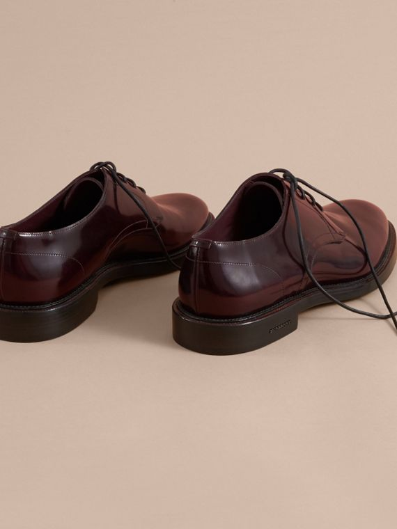 Polished Leather Derby Shoes in Rust Red - Men | Burberry - cell image 3