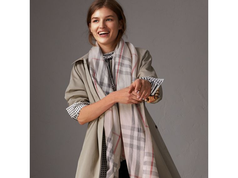Metallic Check Silk and Wool Scarf in Stone/ Silver | Burberry - cell image 2