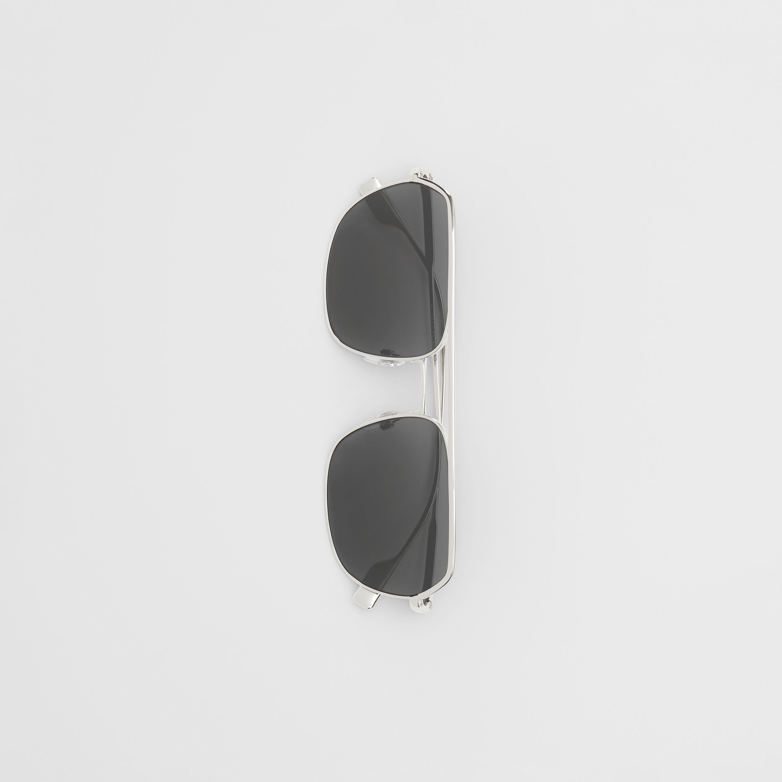 Square Pilot Sunglasses in Silver - Men | Burberry - 4