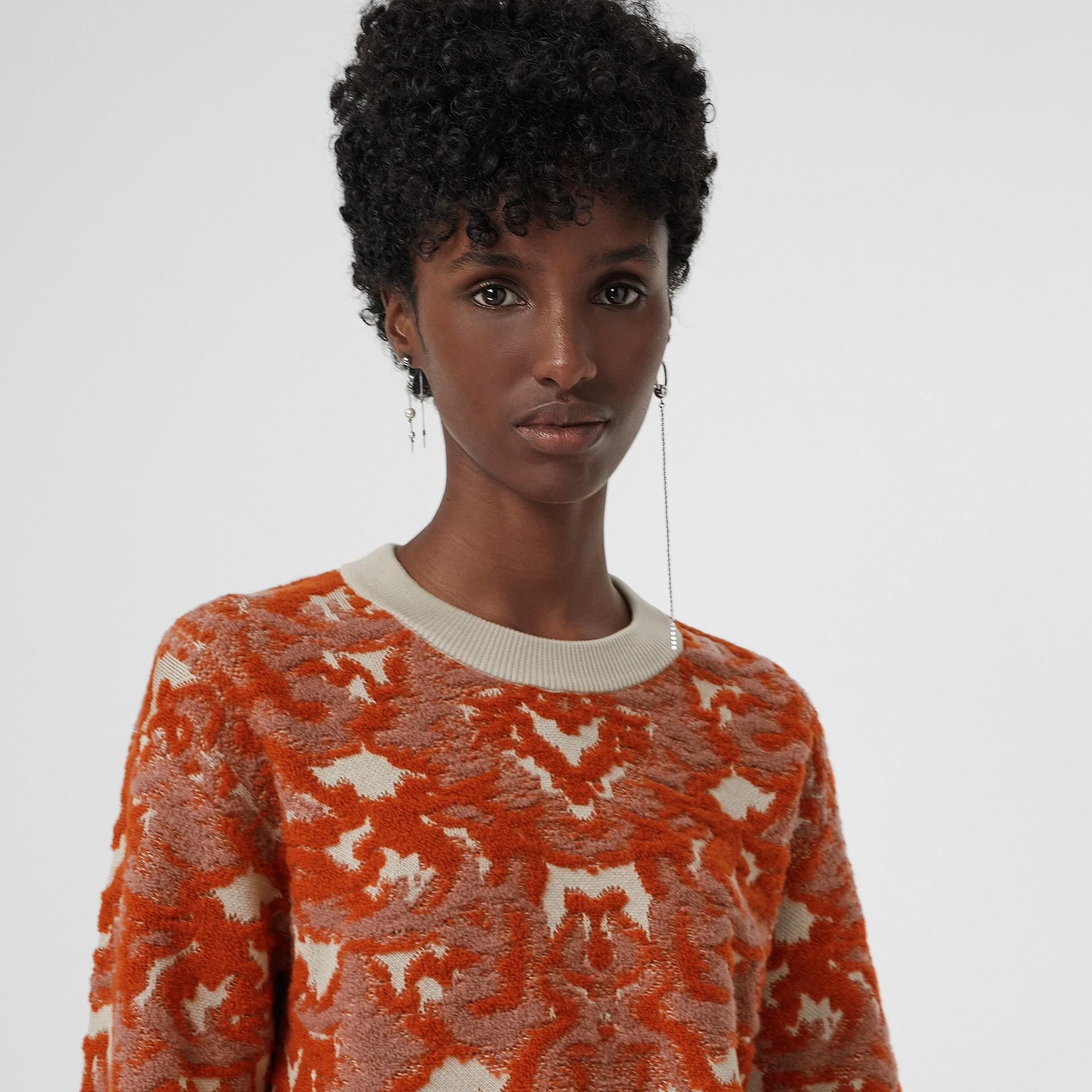 Pull en jacquard de laine et soie damassé (Azalée Rose) - Femme | Burberry Canada - photo de la galerie 1