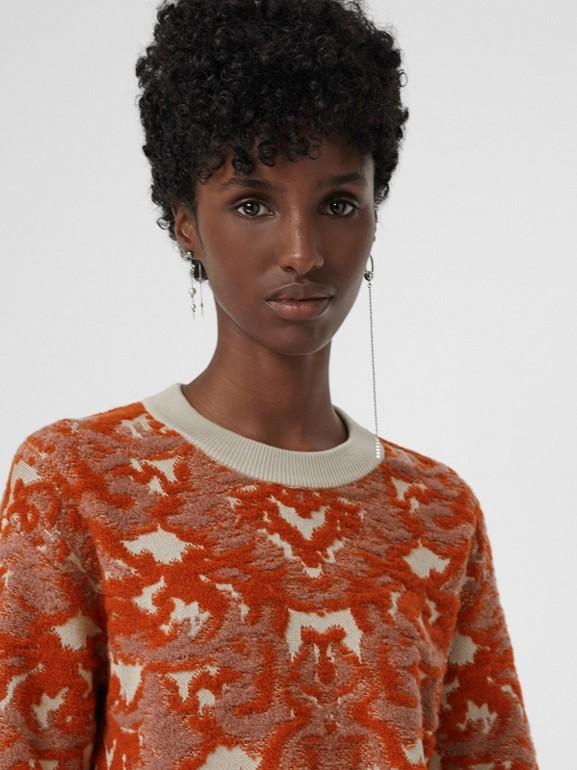 Pull en jacquard de laine et soie damassé (Azalée Rose) - Femme | Burberry Canada - cell image 1