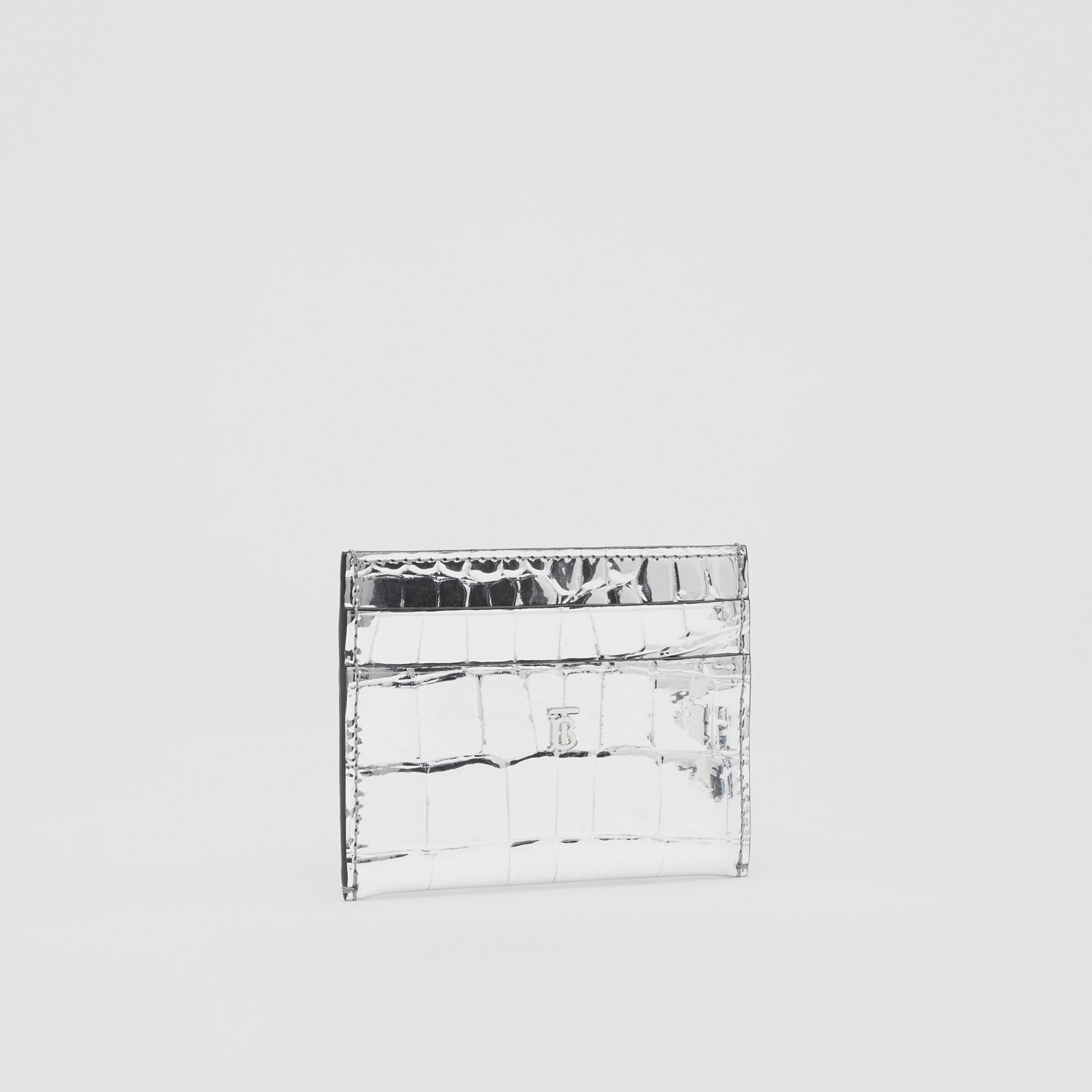 Metallic Embossed Card Case in Silver - Women | Burberry - gallery image 3