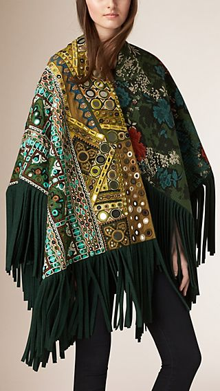 Patchwork Quilt and Mirror Detail Poncho