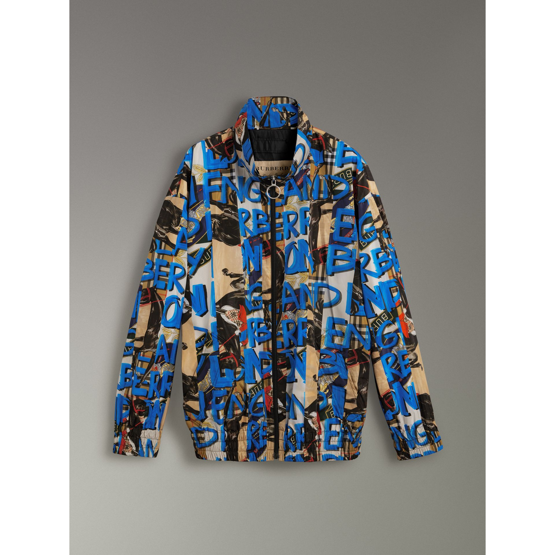 Graffiti Archive Scarf Print Shell Jacket in Antique Yellow - Men | Burberry - gallery image 3