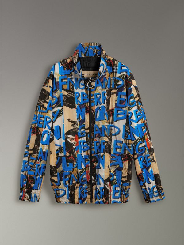 Graffiti Archive Scarf Print Shell Jacket in Antique Yellow - Men | Burberry - cell image 3