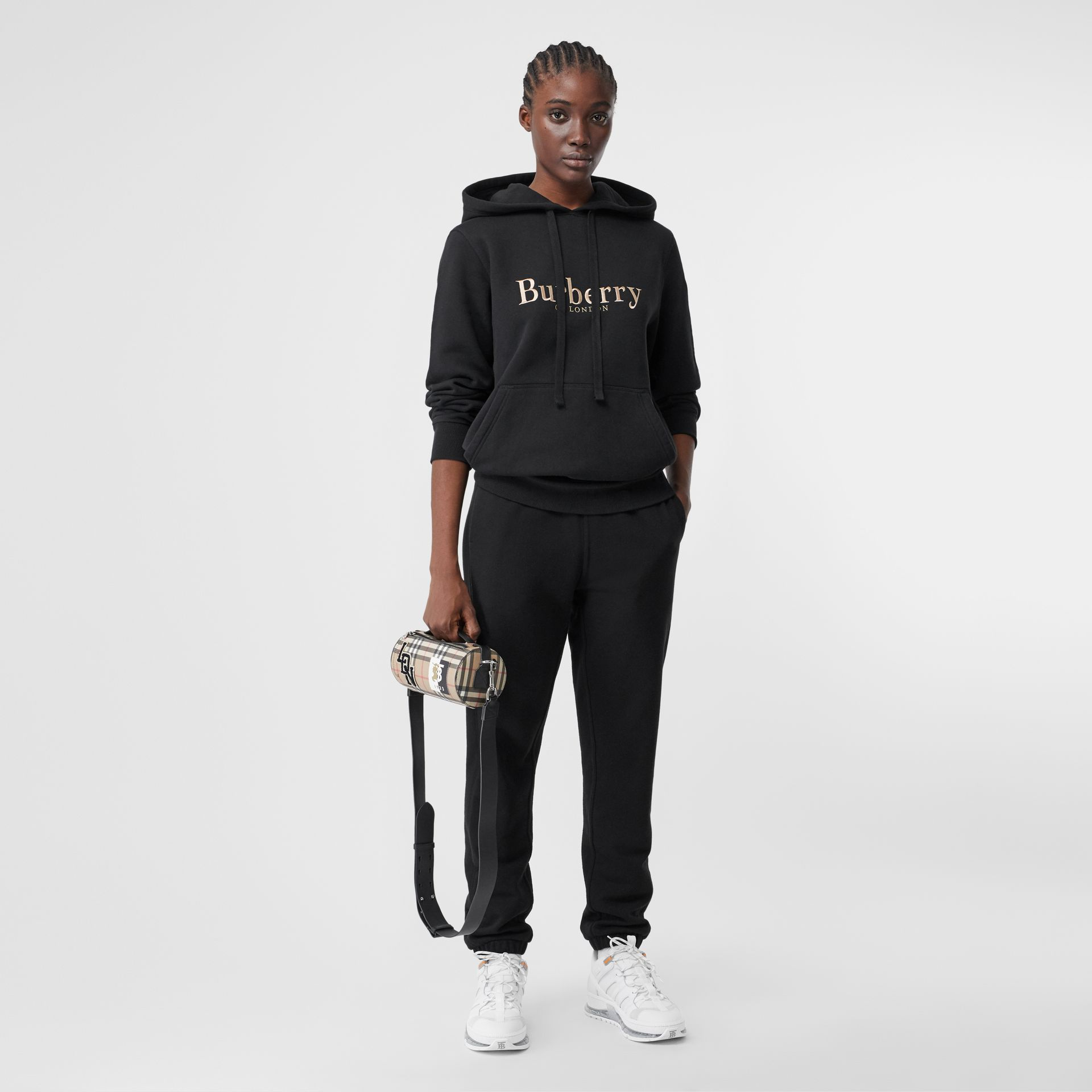 Embroidered Archive Logo Jersey Hoodie in Black - Women | Burberry - gallery image 0