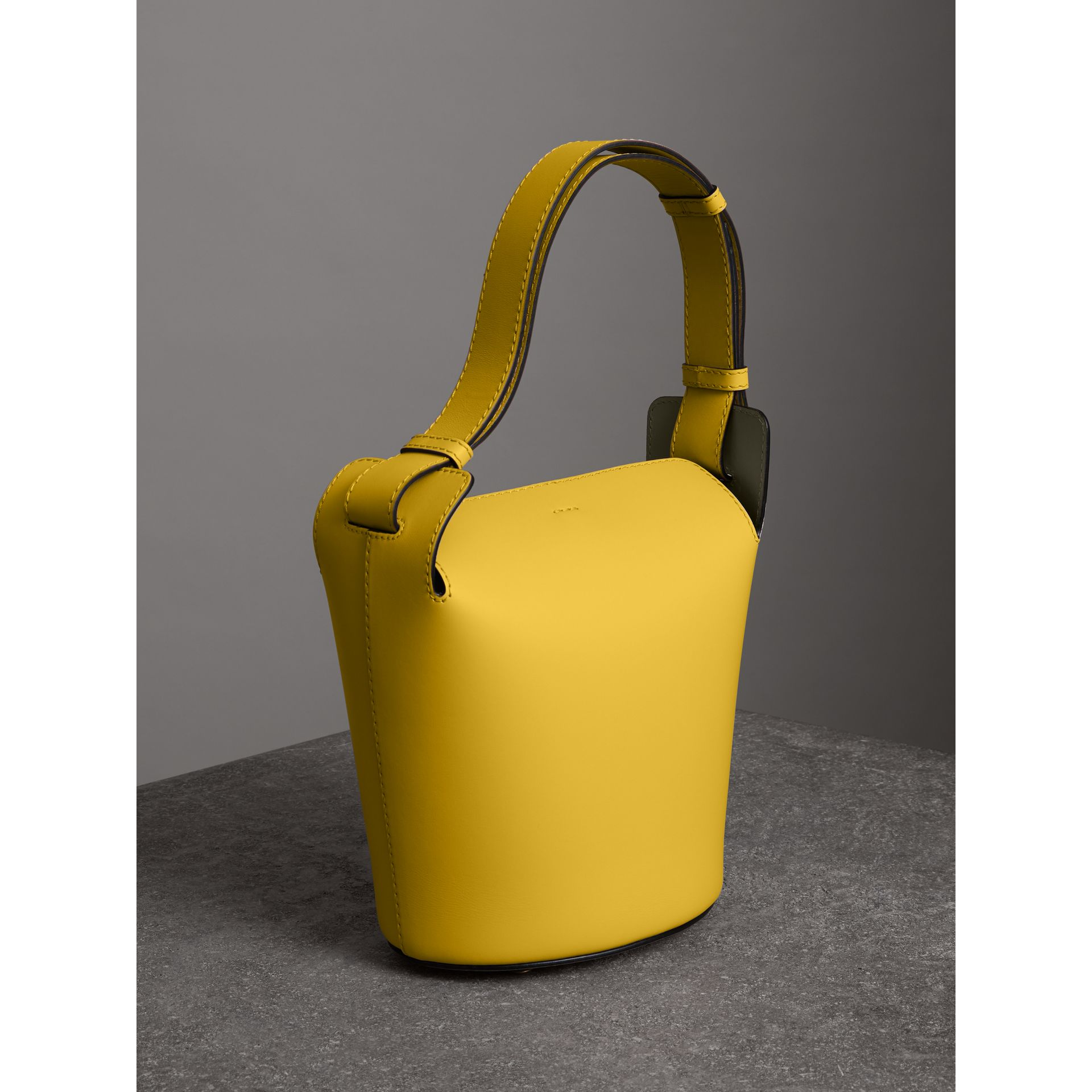 The Small Leather Bucket Bag in Bright Larch Yellow - Women | Burberry United States - gallery image 3