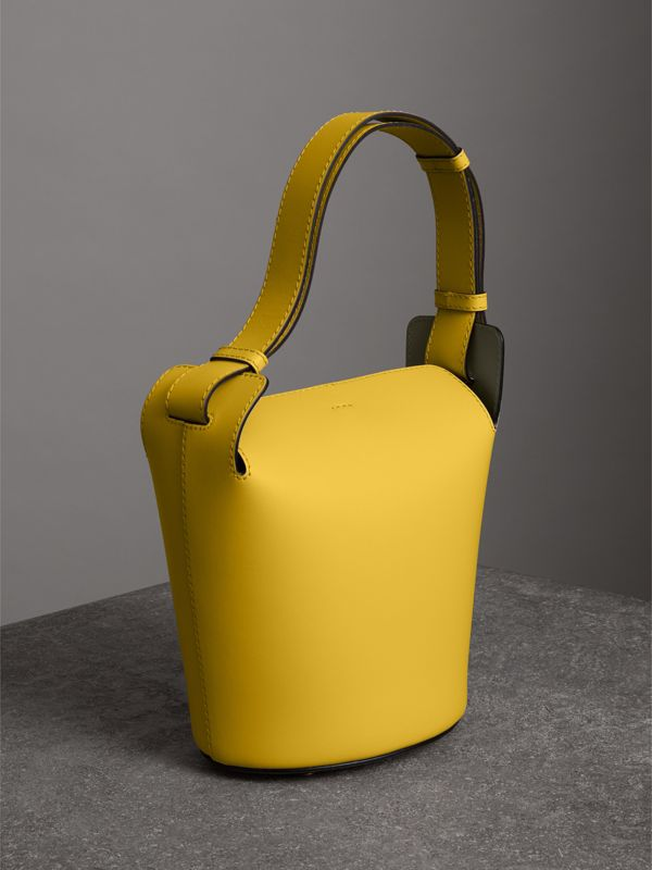 The Small Leather Bucket Bag in Bright Larch Yellow - Women | Burberry - cell image 3