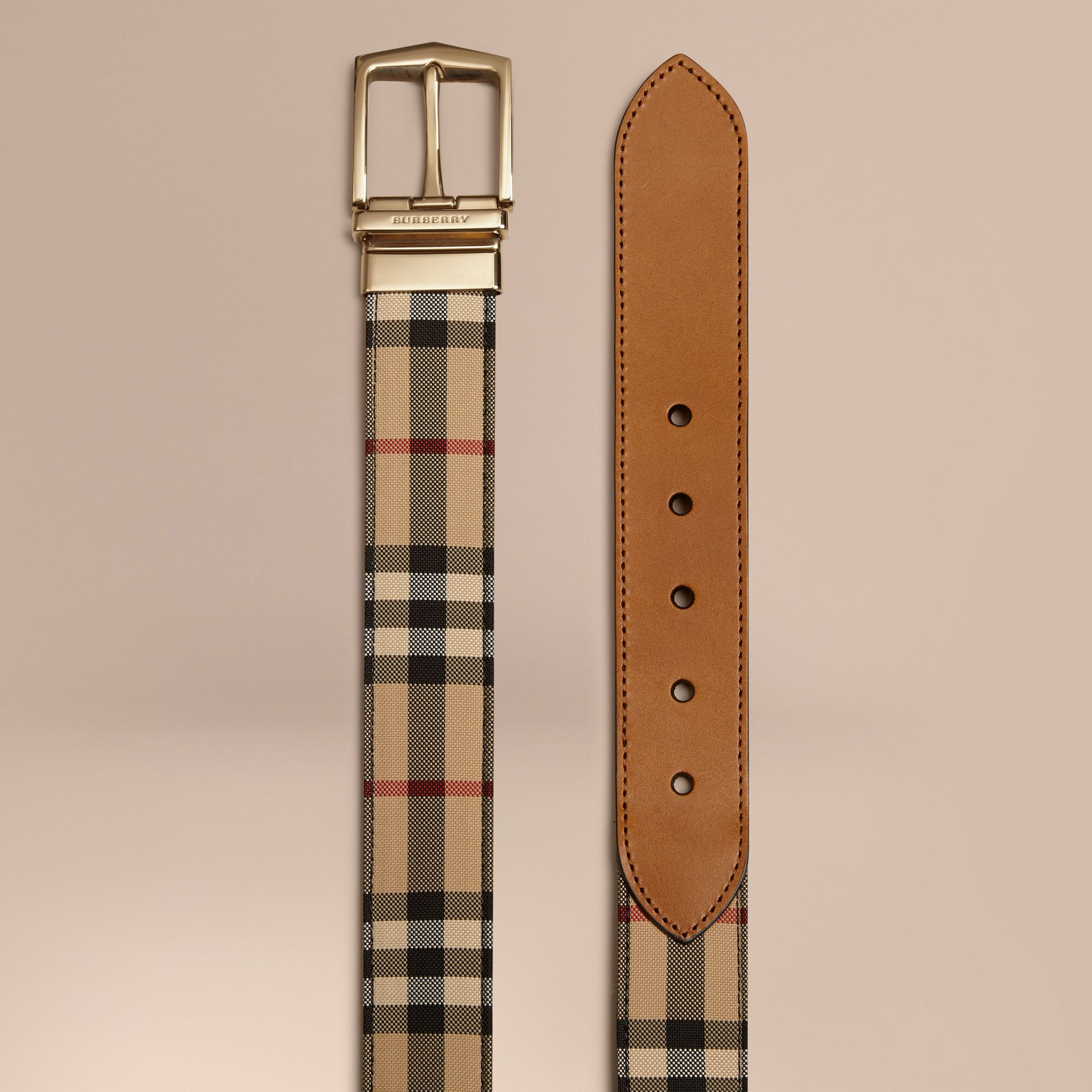 Reversible Horseferry Check and Leather Belt in Tan - Men | Burberry - gallery image 2