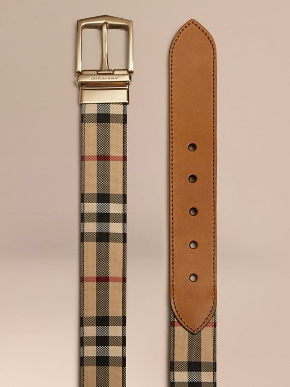 Reversible Horseferry Check and Leather Belt in Tan - cell image 2