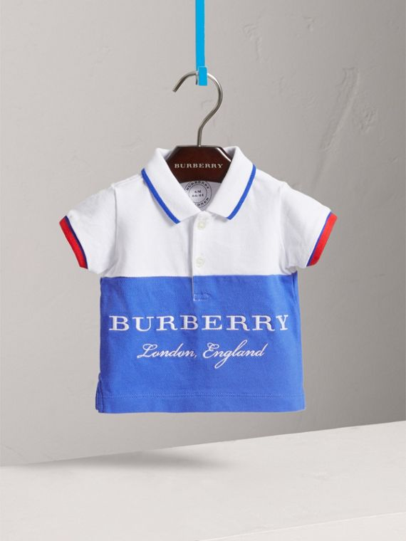 Tipped Cotton Piqué Polo Shirt in Cobalt Blue | Burberry - cell image 2
